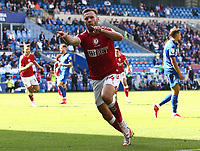 28th August 2021; Cardiff City Stadium, Cardiff, Wales;  EFL Championship football, Cardiff versus Bristol City; Andreas Weimann of Bristol City celebrates after scoring his second goal of the game to make it 1-2 in the second half