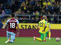 2nd October 2021;  Turf Moor, Burnley, Lancashire, England; Premier League football, Burnley versus Norwich City: Teemu Pukki of Norwich City takes a knee prior to the kick off