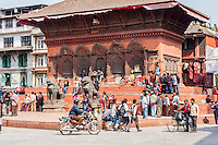 Nepal, Kathmandu.  Shiva-Parvati Temple, Durbar Square, March 1, 2009.  Though damaged by the April 2015 earthquake the building is repairable.