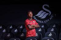 Ethan Laird poses for a portrait, who has signed a contract with Swansea City AFC, at Fairwood Training Ground near Swansea, Wales, UK. Sunday 15 August 2021