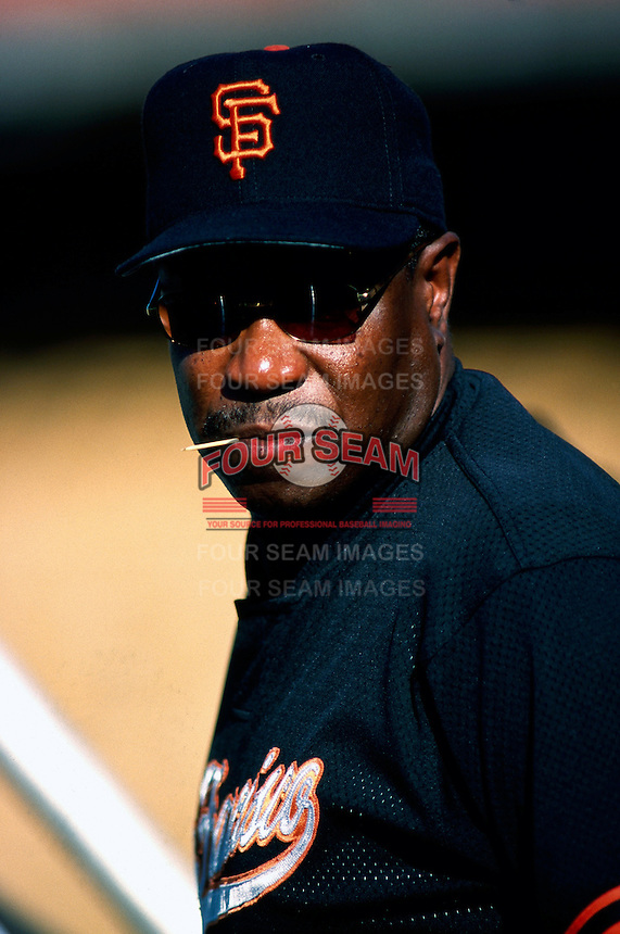 San Francisco Giants Manager Dusty Baker participates in a Major League Baseball game at Dodger Stadium during the 1998 season in Los Angeles, California. (Larry Goren/Four Seam Images)