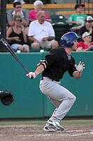 Stockton Ports designated hitter Conner Crumbliss #2 bats against the Visalia Rawhide at Recreation Park on July 30, 2011 in Visalia,California. Visalia defeated Stockton 11-2.(Larry Goren/Four Seam Images)