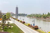 Yangzhou, Jiangsu, China.  The Grand Canal and the Gaoming Temple Pagoda.