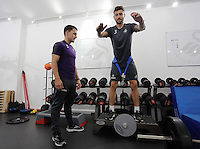 Pictured L-R: Richie Buchanan and Borja Gonzalez in the gym Wednesday 14 September 2016<br />Re: Swansea City FC training at Fairwood, Wales, UK