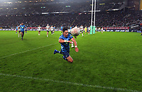 Blues' Bryce Heem can't ground the ball during the Super Rugby Tran-Tasman final between the Blues and Highlanders at Eden Park in Auckland, New Zealand on Saturday, 19 June 2020. Photo: Dave Lintott / lintottphoto.co.nz
