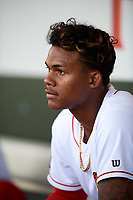 Florida Fire Frogs Cristian Pache (25) in the dugout during a game against the Palm Beach Cardinals on May 1, 2018 at Osceola County Stadium in Kissimmee, Florida.  Florida defeated Palm Beach 3-2.  (Mike Janes/Four Seam Images)