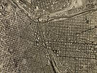 historical aerial photograph of the US Mexican border, Ciudad Juarez, Mexico, El Paso, Texas, 1967 | fotografía aérea histórica de la frontera mexicana de EE.UU., Ciudad Juárez, México, El Paso, Texas, 1967