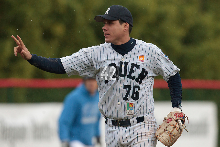 23 October 2010: Boris Marche of Rouen reacts during Savigny 8-7 win (in 12 innings) over Rouen, during game 3 of the French championship finals, in Rouen, France.