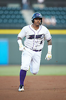 Yermin Mercedes (6) of the Winston-Salem Dash hustles towards third base against the Myrtle Beach Pelicans at BB&T Ballpark on August 6, 2018 in Winston-Salem, North Carolina. The Dash defeated the Pelicans 6-3. (Brian Westerholt/Four Seam Images)