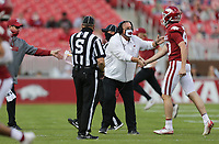 Arkansas head coach Sam Pittman reacts, Saturday, October 17, 2020 during the second quarter of a football game at Donald W. Reynolds Razorback Stadium in Fayetteville. Check out nwaonline.com/201018Daily/ for today's photo gallery. <br /> (NWA Democrat-Gazette/Charlie Kaijo)