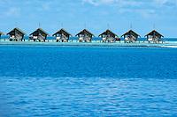 Resort bungalows over sea, Maldives.