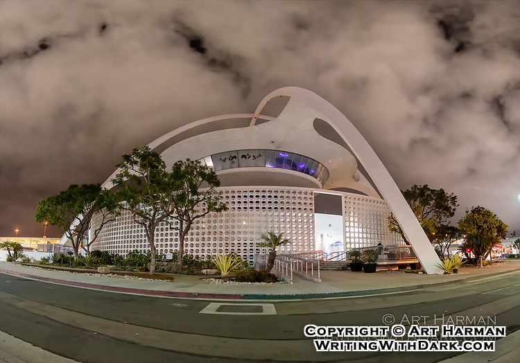 """""""LAX Theme Building"""" by Art Harman. This historical building used to house a great restaurant, and is now used as a USO hospitality center. Night photo."""