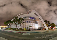 """LAX Theme Building"" by Art Harman. This historical building used to house a great restaurant, and is now used as a USO hospitality center. Night photo."