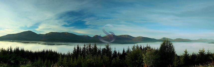 Mist over Loch Garry, Glen Garry, Highland<br /> <br /> Copyright www.scottishhorizons.co.uk/Keith Fergus 2011 All Rights Reserved