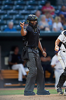 Umpire Jose Navas calls a strike during a Southern League game between the Mobile BayBears and Jacksonville Jumbo Shrimp on May 28, 2019 at Baseball Grounds of Jacksonville in Jacksonville, Florida.  (Mike Janes/Four Seam Images)