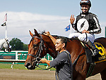 July 29, 2012 Royal Currier, Joe Bravo up, wins the Teddy Drone Stakes at Monmouth Park Racetrack, Oceanport, NJ. Travelin Man is second. @Joan Fairman Kanes/Eclipse Sportswire