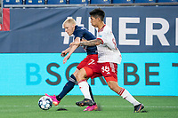 FOXBOROUGH, MA - JUNE 26: Connor Presley #7 of the New England Revolution crosses the ball to the North Texas SC goal during a game between North Texas SC and New England Revolution II at Gillette Stadium on June 26, 2021 in Foxborough, Massachusetts.