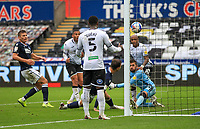 3rd October 2020; Liberty Stadium, Swansea, Glamorgan, Wales; English Football League Championship, Swansea City versus Millwall; Ben Cabango of Swansea City scores his sides second goal in the 68th minute of the match