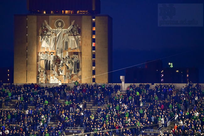 October 23, 2021; The Word of Life Mural, commonly known as Touchdown Jesus, during a football game, 2021. (photo by Matt Cashore)