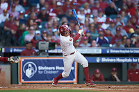 Brandon Zaragoza (4) of the Oklahoma Sooners follows through on his swing against the Arkansas Razorbacks in game two of the 2020 Shriners Hospitals for Children College Classic at Minute Maid Park on February 28, 2020 in Houston, Texas. The Sooners defeated the Razorbacks 6-3. (Brian Westerholt/Four Seam Images)