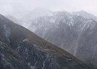 Dusk over Burnett Mountains with fresh snowfall, Aoraki Mount Cook National Park, UNESCO World Heritage Area,  Mackenzie Country, New Zealand, NZ