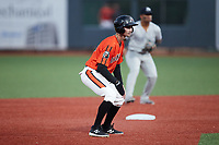 Hudson Haskin (26) of the Aberdeen IronBirds takes his lead off of second base against the Hudson Valley Renegades at Leidos Field at Ripken Stadium on July 23, 2021, in Aberdeen, MD. (Brian Westerholt/Four Seam Images)