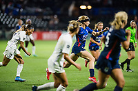 TACOMA, WA - JULY 31: Bethany Balcer #24 of the OL Reign dribbles the ball during a game between Racing Louisville FC and OL Reign at Cheney Stadium on July 31, 2021 in Tacoma, Washington.
