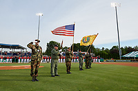 National anthem flag presentation before a Batavia Muckdogs NY-Penn League game against the Auburn Doubledays on June 14, 2019 at Dwyer Stadium in Batavia, New York.  Batavia defeated 2-0.  (Mike Janes/Four Seam Images)