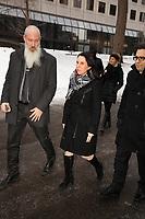 """la mairesse Valerie Plante  parle aux medias avant<br />  Les funerailles du Pere Emmett Johns, """"Pops"""", celebres par l'Archevque de Montreal Christian Lepine, le 27 Janvier 2018 a la Basilique Saint-Patrick. <br /> <br /> PHOTO :  Agence Quebec Presse"""