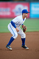 Bluefield Blue Jays third baseman Rafael Lantigua (25) during the second game of a doubleheader against the Bristol Pirates on July 25, 2018 at Bowen Field in Bluefield, Virginia.  Bristol defeated Bluefield 5-2.  (Mike Janes/Four Seam Images)