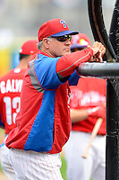 Philadelphia Phillies third base coach Ryne Sandberg #23 before a Spring Training game against the Boston Red Sox at Bright House Field on March 24, 2013 in Clearwater, Florida.  Boston defeated Philadelphia 7-6.  (Mike Janes/Four Seam Images)