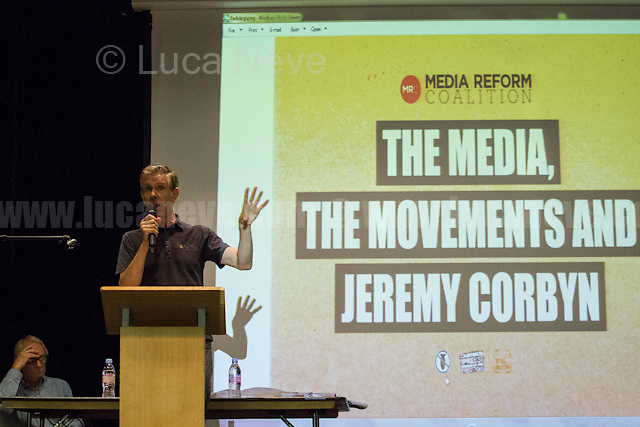 """Chris Nineham (National Officer of Stop The War Coalition).<br /> <br /> London, 15/09/2016. Today, """"Media Reform Coalition"""", held a meeting at Student Central in Malet street called """"The Media, The Movements and Jeremy Corbyn"""". From the organisers press release: <<[…] As part of the Media Reform Coalition's ongoing campaign for a media that informs, represents and empowers the public, this event will bring together media activists, workers and scholars to explore the media's misrepresentation of progressive movements and voices and shape a response that does them justice […]>>. <br /> Speakers included: Ken Loach, film and television Director; Justin Schlosbergd, media activist, researcher and Lecturer at Birkbeck University of London; Greg Philo, Professor and Director of Glasgow University Media Unit; Kam Sandhu, co-founder of Real Media; Chris Nineham, National Officer of Stop The War Coalition; James Schneider, National Organiser of Momentum; Angela Towers member of No More Page 3 Campaign; Des Freedman Chair of the event, member of the Media Reform Coalition and Professor of Media and Communications in the Department of Media and Communications at Goldsmiths, University of London.<br /> <br /> For more information please click here: http://www.mediareform.org.uk/blog/5-myths-corbyn-media-bias-labour & https://www.facebook.com/MediaReformUK/?fref=ts<br /> <br /> For the Video of the Event please click here: https://www.youtube.com/watch?v=mNbRpjy51Io"""