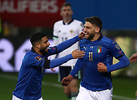 Footbal Soccer: FIFA World Cup Qatar 2022 Qualification, Italy - Northern Ireland, Ennio Tardini stadium, Parma, March 26, 2021.<br /> Italy's Domenico Berardi (R) celebrates after scoring with his teammate Lorenzo Insigne (L) during the FIFA World Cup Qatar 2022 qualification, football match between Italy and Northern Ireland, at Ennio Tardini stadium in Parma on March 26, 2021.<br /> UPDATE IMAGES PRESS/Isabella Bonotto