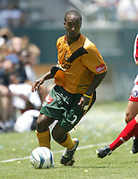 12 June 2004: Galaxy Ricky Lewis in action against Chicago Fire at Home Depot Center in Los Angeles, California.    Los Angeles defeated Chicago Fire, 3-2.  Mandatory Credit: Michael Pimentel / ISI