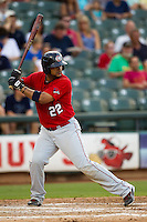 Oklahoma City RedHawks PPP Carlos Corporan #22 at bat during the Pacific Coast League baseball game against the Round Rock Express on June 15, 2012 at the Dell Diamond in Round Rock, Texas. The Express shutout the RedHawks 2-1. (Andrew Woolley/Four Seam Images).