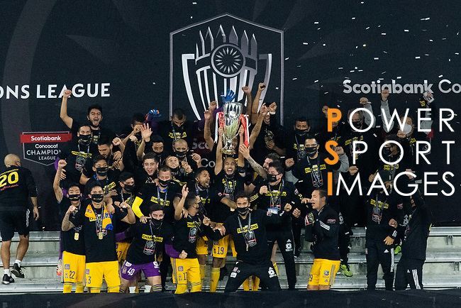 Players of Tigres UANL (MEX) celebrates with the trophy after winning their CONCACAF Champions League Final match against Los Angeles FC (USA) at the Orlando's Exploria Stadium on 22 December 2020, in Florida, USA. Photo by Victor Fraile / Power Sport Images