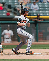 Colin Moran (8) of the Fresno Grizzlies follows through on his swing against the Salt Lake Bees during the Pacific Coast League game at Smith's Ballpark on April 16, 2017 in Salt Lake City, Utah. Salt Lake defeated Fresno 5-4. (Stephen Smith/Four Seam Images)