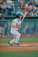 Ty Kelly (22) of the Salt Lake Bees at bat against the Las Vegas Aviators at Smith's Ballpark on July 20, 2019 in Salt Lake City, Utah. The Aviators defeated the Bees 8-5. (Stephen Smith/Four Seam Images)