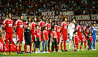 CALI -COLOMBIA-15-04-2014. Formacion del America de Cali  contra el Real Cartagena ,partido por la Copa Postobon de la segunda divison jugado en el estadio Pascual Guerrero de la ciudad de Cali./ Team of America de Cali  against Real Cartagena Victor Cordoba, Postobon Cup game for the second divison played at the stadium Pacual Warrior Cali.  Photo: VizzorImage / Juan Carlos Quintero / Stringer