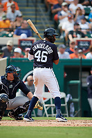 Detroit Tigers third baseman Jeimer Candelario (46) at bat during a Grapefruit League Spring Training game against the New York Yankees on February 27, 2019 at Publix Field at Joker Marchant Stadium in Lakeland, Florida.  Yankees defeated the Tigers 10-4 as the game was called after the sixth inning due to rain.  (Mike Janes/Four Seam Images)