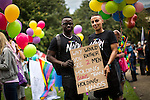 © Joel Goodman - 07973 332324 . 27/08/2016 . Manchester , UK . Rainbow Noir at preparations ahead of the annual Pride Parade through Manchester City Centre as part of Manchester Gay Pride's Big Weekend . Photo credit : Joel Goodman