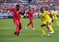 CLEVELAND, OH - JUNE 22: Neil Danns #16 is defended by Harold Cummings #3 during a game between Panama and Guyana at FirstEnergy Stadium on June 22, 2019 in Cleveland, Ohio.