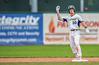 25 July 2017: Vermont Lake Monsters outfielder Greg Deichmann, a 2nd round draft pick for the Oakland Athletics, stands safely on second after hitting a double in the 7th inning against the Tri-City ValleyCats at Centennial Field in Burlington, Vermont. The Lake Monsters defeated the ValleyCats 11-3 in NY Penn League action. Mandatory Credit: Ed Wolfstein Photo *** RAW (NEF) Image File Available ***