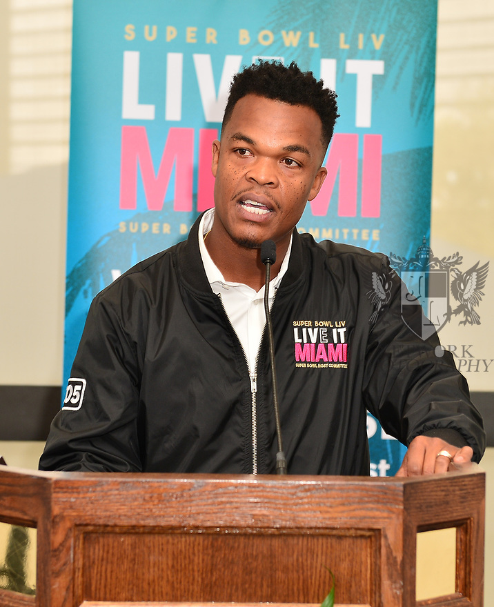 MIAMI, FLORIDA - JANUARY 29: Community Outreach, Miami Host Committee Rashad Thomas attends the 21st Annual Super Bowl Gospel Celebration Press Conference at James L Knight Center on January 29, 2020 in Miami, Florida.  ( Photo by Johnny Louis / jlnphotography.com )