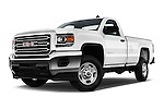 Stock pictures of low aggressive front three quarter view of 2018 GMC Sierra-2500HD 2WD-Regular-Cab-Long-Box 2 Door Pick-up Low Aggressive
