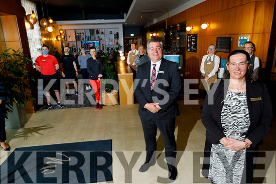Ruth O'Sullivan (General Manager) front right with Derek Carroll (Deputy General Manager) of the Manor West Hotel at the opening of the Manor West Hotel SeaSalt lobby coffee shop on Monday.