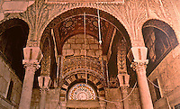 World Civilization:  Islamic Architecture--Damascus, Great Mosque of the Umayyads 705-715.  Mosaics executed with Byzantine techniques, but no human or animal figures. Note: columns and capitals!