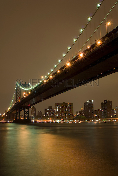 Manhattan Bridge, East River and Manhattan's Lower East Side on an Overcast Night, New York City, New York State, USA