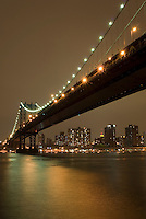 Manhattan Bridge, East River and Manhattan's Lower East Side on an Overcast Night, New York City, New York State, USA