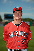 Batavia Muckdogs Troy Johnston (27) poses for a photo before a NY-Penn League game against the West Virginia Black Bears on June 26, 2019 at Dwyer Stadium in Batavia, New York.  Batavia defeated West Virginia 4-2.  (Mike Janes/Four Seam Images)